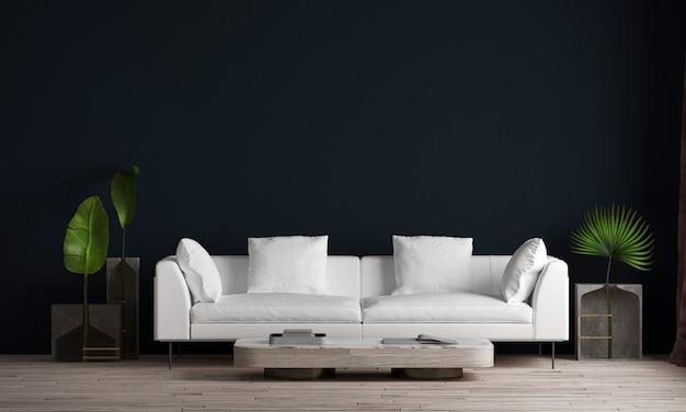 最小限のリビングルームと黒い壁のテクスチャ背景の美しいモックアップルームのインテリアデザイン