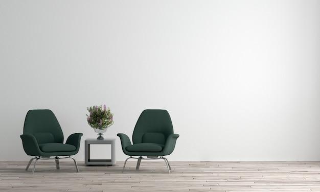최소한의 거실과 흰 벽 질감 배경의 아름다운 모의 방 인테리어 디자인