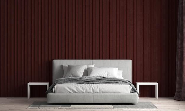 아름 다운 현대 모의 및 침실과 빨간색 질감 벽 질감 backgroundd 렌더링의 인테리어