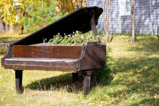 도심 공원에 있는 오래된 검은색 피아노에 꽃을 위한 침대. 특이한 창조적 인 침대에서 피튜니아 꽃.