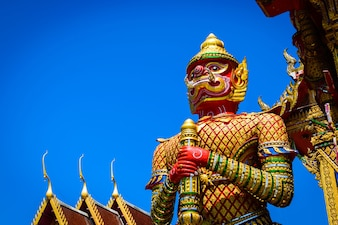 The Big Giant on blue sky in Thai Temple