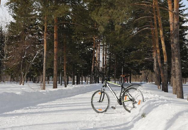自転車は冬の公園で雪の上に立つ