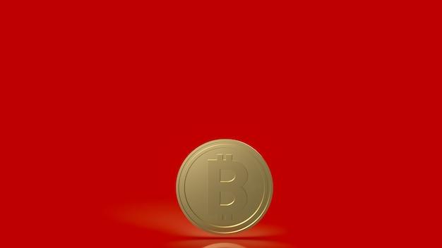 암호 화폐 또는 비즈니스 개념 3d 렌더링을 위한 빨간색 배경의 비트코인 코인