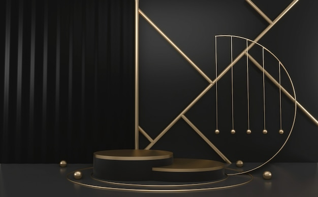 黒と金の表彰台の最小限の幾何学的な、ダークスタイルのabstract.3dレンダリング