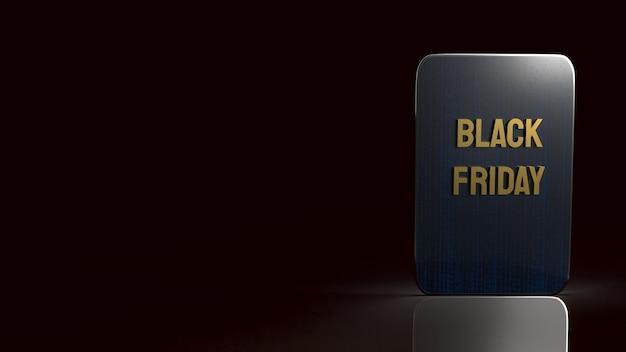 ホリデーショッピングの3dレンダリング用のタブレット上のブラックフライデーのテキスト。 Premium写真