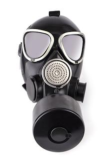 흰색 바탕에 검은 가스 마스크 isolatade