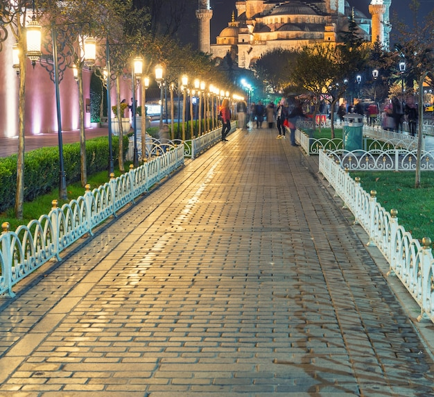 Голубая мечеть ночью, стамбул.