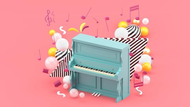 青いピアノはピンクのノートとカラフルなボールに囲まれています。 3dレンダー