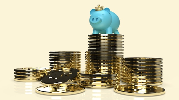 Банк синей свиньи и корона на золотых монетах для бизнес-контента