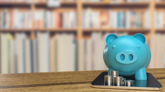 부동산 비즈니스 개념 3d 렌더링을 위한 태블릿의 파란색 돼지 저금통 및 동전