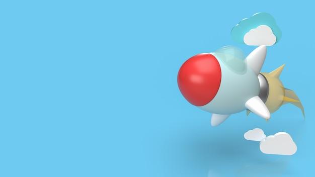 スタートアップコンテンツの3dレンダリング用の青いロケットとクラウド