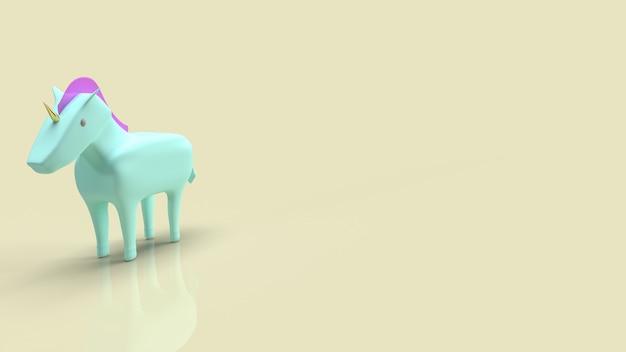 Синий единорог для символа запуска бизнеса 3d-рендеринга