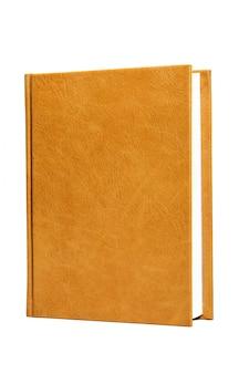 本は明るい茶色のハードレザーカバーです