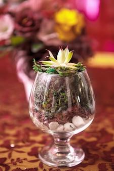 Букет цветов на сервированном столе