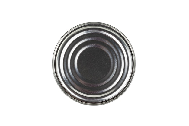 ブリキ缶の底は白い背景で隔離されています。缶詰用のユニバーサルコンテナ。