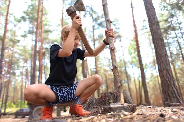 少年は片方の手に斧を持ち、もう片方の手に棒を持ち、薪のためにそれを切ります