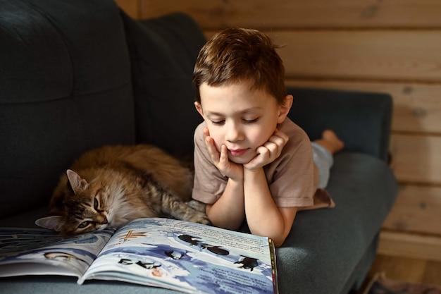 その少年は本を読んでいます。猫と本を持った少年が青いソファに横になっています。