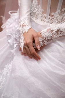 花嫁は手入れの行き届いた手を見せます