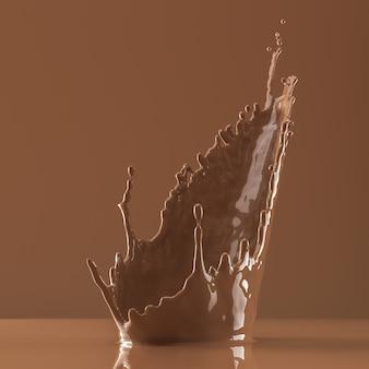 茶色のシーンでの茶色の液体のしぶき
