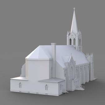 가톨릭 교회의 건물, 다른 측면에서 볼 수 있습니다. 회색 배경에 3 차원 흰색 그림입니다. 3d 렌더링.