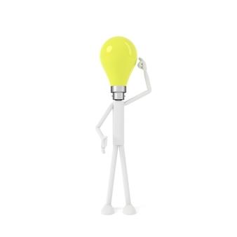 電球の頭の男。 3dレンダリング