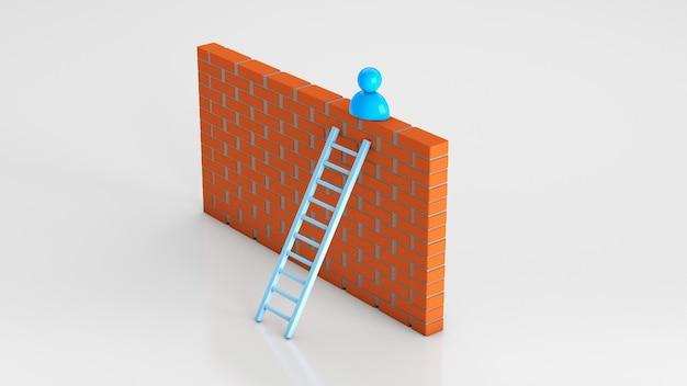 사업가는 벽으로 계단을 올랐다. 3d 렌더링입니다.