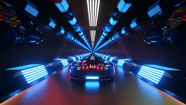 Автомобиль мчится на высокой скорости через бесконечный футуристический туннель с неоновыми технологиями.