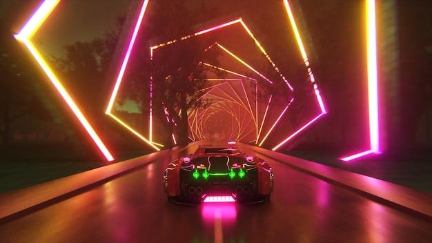 車は無限のネオン技術トンネルの未来的なコンセプトを高速で駆け抜けます