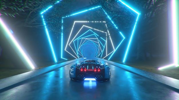 자동차는 끝없는 네온 기술 터널 미래 개념을 통해 고속으로 돌진합니다