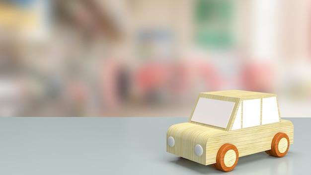 차고 서비스 또는 자동차 개념 3d 렌더링을 위해 차고에 있는 테이블에 있는 자동차 장난감