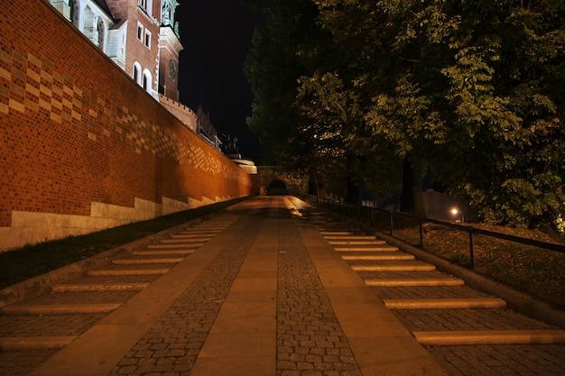 폴란드의 크라쿠프 시에서 밤에 성