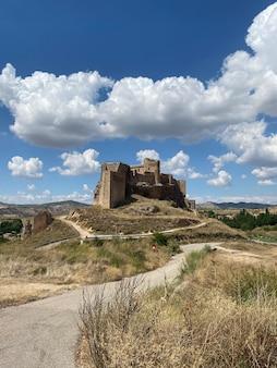 Замок зорита-де-лос-канес, расположенный рядом с рекой тахо в гвадалахаре, испания.
