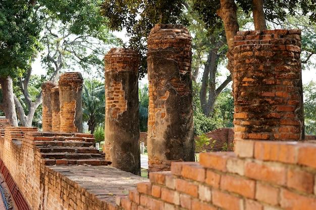 ワットポーイントラプラムルアントンタイのリクライニング仏の礼拝堂のレンガの壁