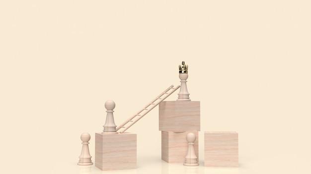 Шахматы и лестница на деревянном кубе для 3d-рендеринга бизнес-концепции