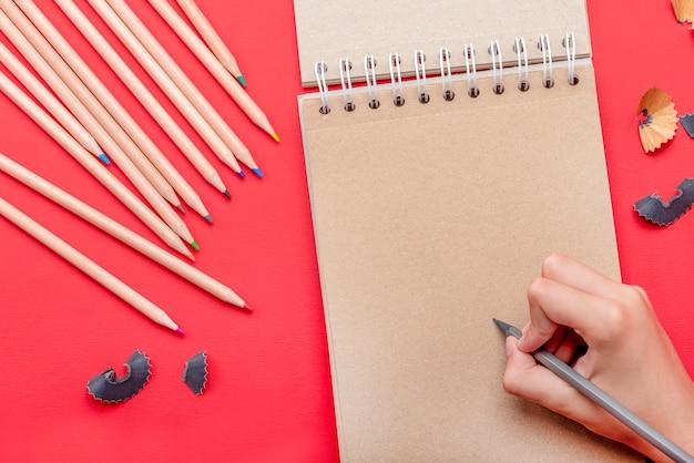 아이는 공책 빈 시트에 연필로 그림을 그려 텍스트나 이미지를 다시 학교에 삽입합니다.