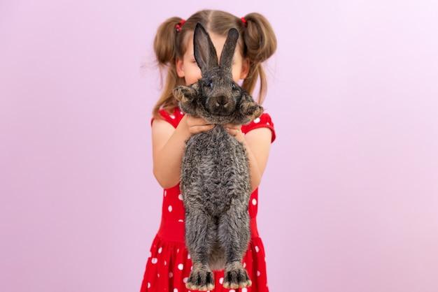 子供は美しいふわふわのウサギを手に持っています。