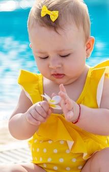 子供は水着を着てプールのそばに座っています。