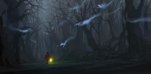 아이들은 많은 유령 일러스트와 함께 정글에 있습니다.