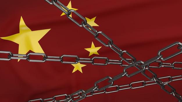 中国の旗とビジネスコンテンツの3 dレンダリングのチェーン。