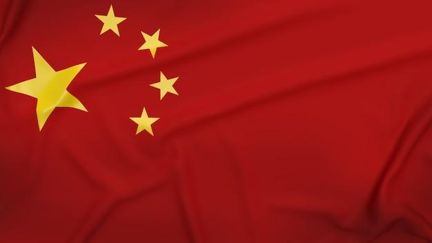 Флаг китая крупным планом изображение для 3d-рендеринга бизнес-контента.