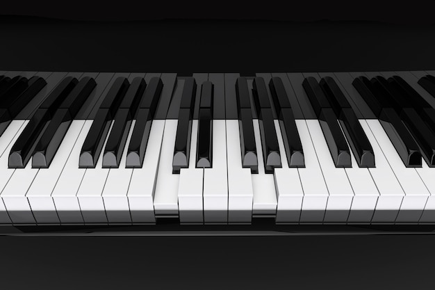極端なクローズアップピアノの鍵盤を押すコード
