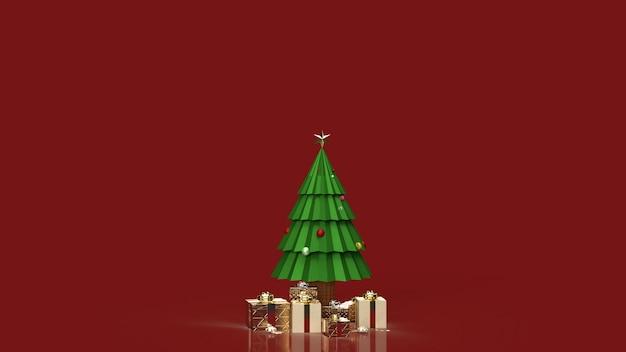 クリスマスツリーとホリデーコンテンツ用ギフトボックス