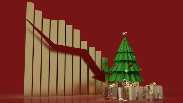 ホリデーマーケティングコンテンツのクリスマスツリーギフトボックスとチャート矢印下