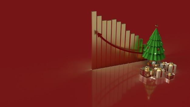 ホリデーマーケティングコンテンツのクリスマスツリーギフトボックスとチャート矢印