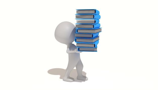イラストのcinema4dレンダリングは、本の山を運びます