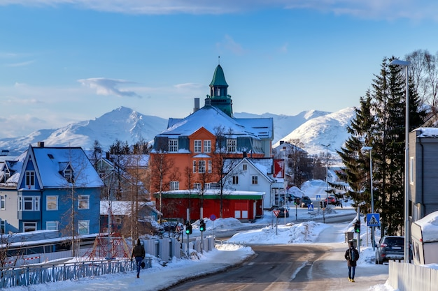 北ノルウェーの冬のトロムソの街