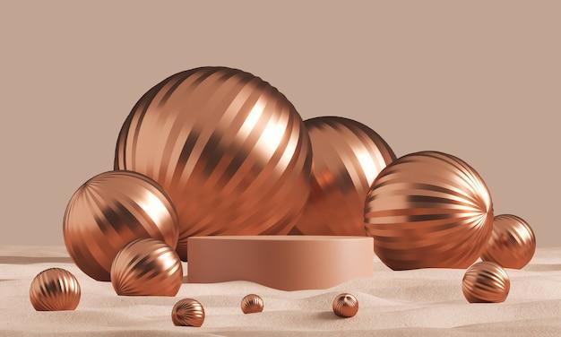 Подиум с глиняным цилиндром среди множества сморщенных шаров шампанского в пустыне, абстрактный минималистичный фон для рекламного брендинга и презентации продукции. 3d рендеринг