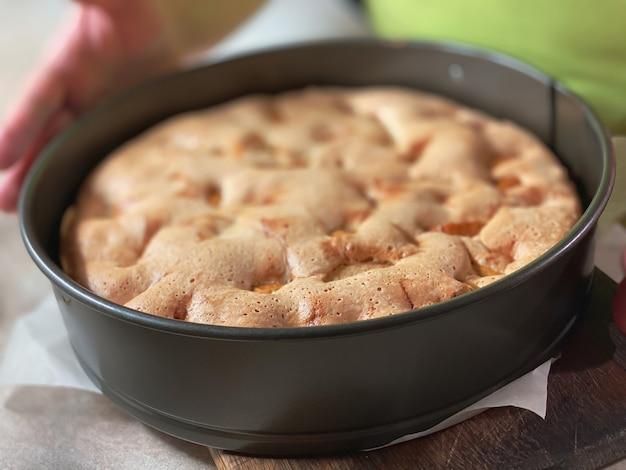 사과와 함께 조리된 스폰지 케이크를 닫습니다. 음식 질감.