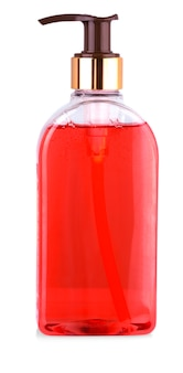 Крупный план прозрачной бутылки с жидким мылом