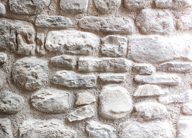クローズアップの白いレンガの壁、背景として白くされた石積みのテクスチャ
